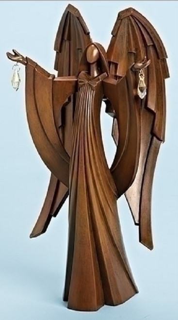 """12.75"""" Faux Wood Angel with Jewels Inspirational Christmas Tabletop Figure - IMAGE 1"""