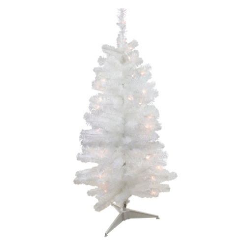 4' Pre-Lit Slim White Artificial Tinsel Christmas Tree - Clear Lights - IMAGE 1