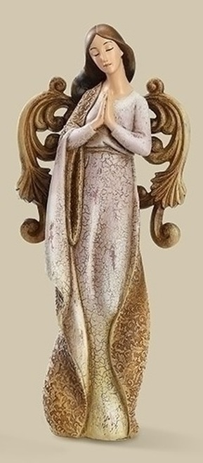 "9.75"" Brown and Purple Ornate Weathered Angel Christmas Tabletop Figurine - IMAGE 1"