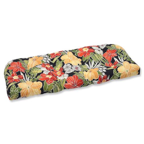 "19"" x 44"" Clemens Noir Outdoor Patio Wicker Loveseat Cushion - IMAGE 1"