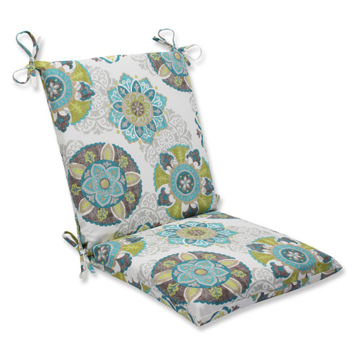 """36.5"""" Blue and Green Suzani Outdoor Patio Chair Cushion with Ties - IMAGE 1"""