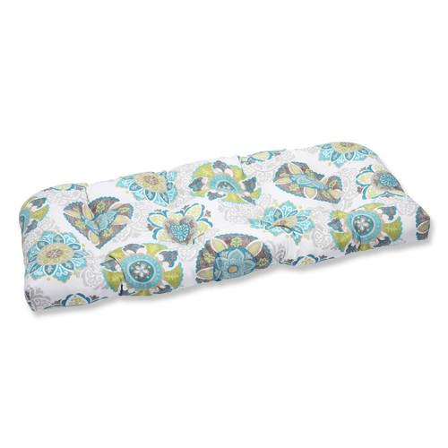 """19"""" x 44"""" Stunning Suzani Outdoor Patio Wicker Loveseat Cushion - IMAGE 1"""