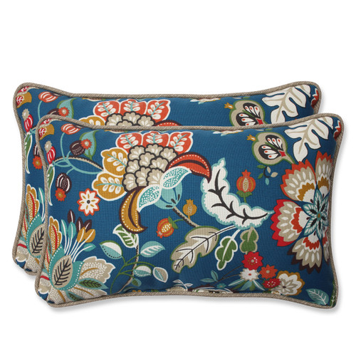 "Set of 2 Blue Garden Oasis Outdoor Patio Decorative Throw Pillow 11.5"" x 18.5"" - IMAGE 1"