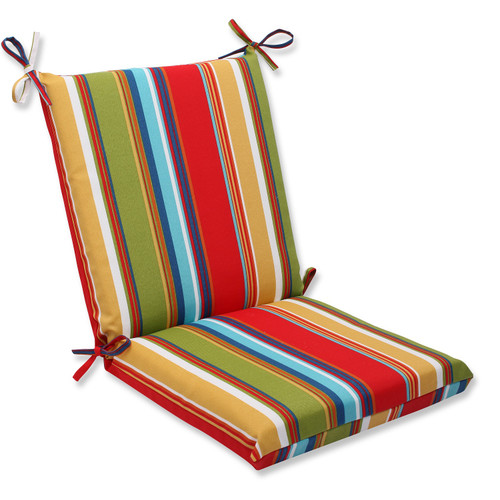 """36"""" Westport Garden Red, Green, Blue and Teal Striped Outdoor Patio Chair Cushion - IMAGE 1"""