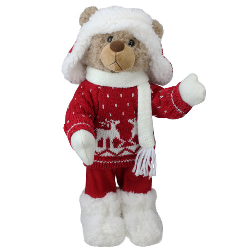 """14"""" White and Red Winter Boy Bear in Deer Sweater Christmas Figure Decoration - IMAGE 1"""