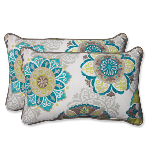 """Set of 2 Beige and Blue Outdoor Rectangular Corded Throw Pillows 18.5"""" - IMAGE 1"""