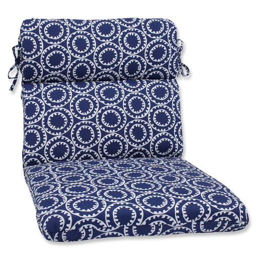 """40.5"""" Blue and White Geometric Outdoor Patio Rounded Chair Cushion - IMAGE 1"""