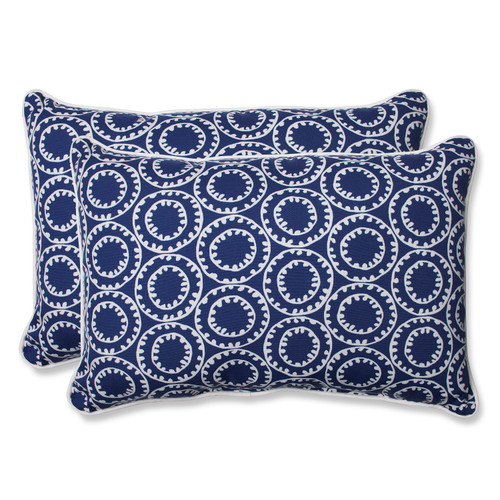 """Set of 2 Blue and White Outdoor Corded Rectangular Throw Pillows 24.5"""" - IMAGE 1"""