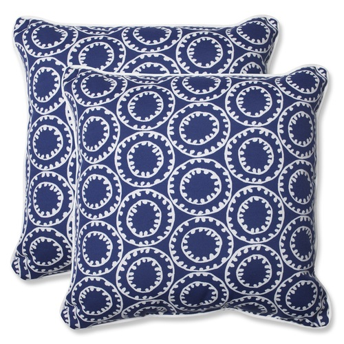 """Set of 2 Blue and White Outdoor Corded Square Throw Pillows 18.5"""" - IMAGE 1"""