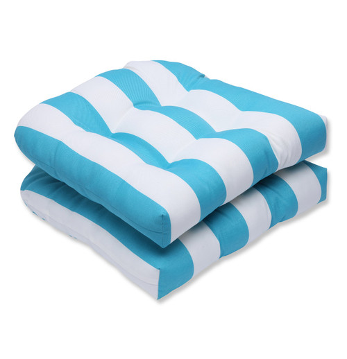 """Set of 2 Turquoise and White Striped Outdoor Corded Square Seat Cushions 19"""" - IMAGE 1"""