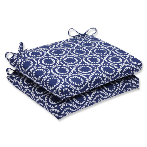 """Set of 2 Blue and White Circle Outdoor Patio Chair Cushions 18.5"""" - IMAGE 1"""