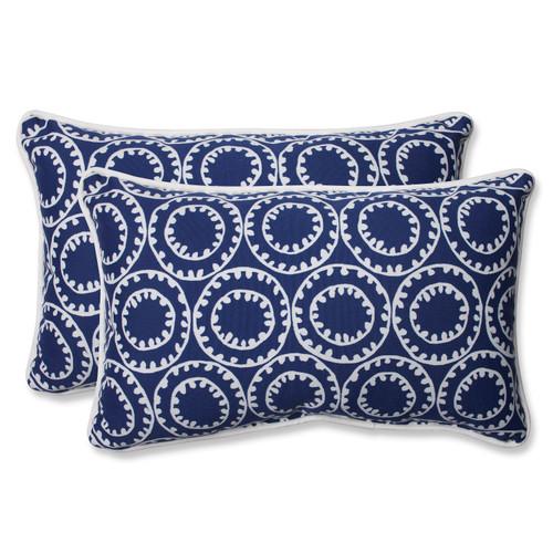 "Set of 2 Blue and White Outdoor Corded Rectangular Throw Pillows 18.5"" - IMAGE 1"