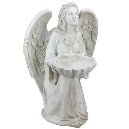 "19.75"" Kneeling Angel Holding Shell Religious Outdoor Garden Statue Bird Feeder - IMAGE 1"