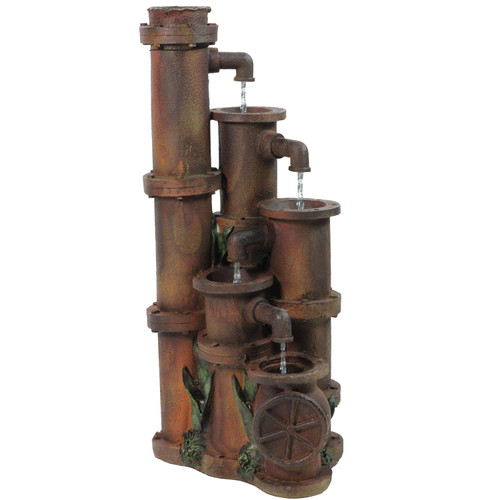 """23.5"""" Rusted Cascading Pipes Outdoor Patio Garden Water Fountain - IMAGE 1"""