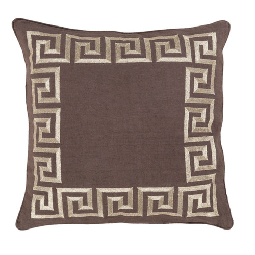 "18"" Chocolate Brown and White Wavy Bordered Square Throw Pillow Cover - IMAGE 1"