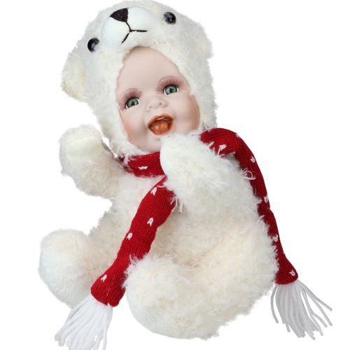 "9.25"" White and Red Porcelain Baby in Polar Bear Costume Christmas Doll - IMAGE 1"