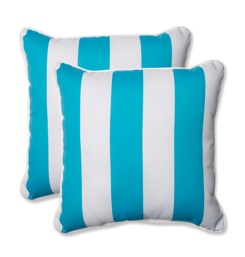 """Set of 2 Blue and White Striped Outdoor Corded Throw Square Pillows 18.5"""" - IMAGE 1"""