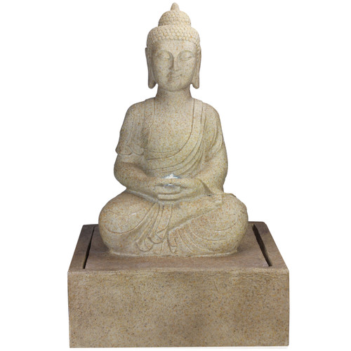 """28"""" LED Lighted Praying Buddha Outdoor Patio Garden Water Fountain - IMAGE 1"""