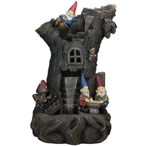 "28"" Brown Three-tier Gnome Home Tree Stump Outdoor Garden Water Fountain - IMAGE 1"