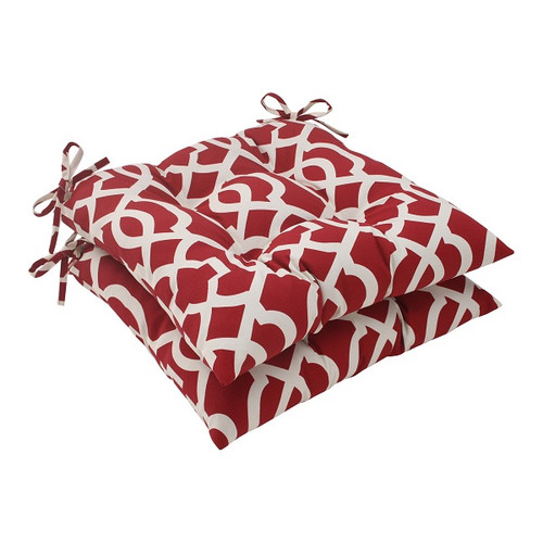 """Set of 2 Moroccan Mosaic Red Outdoor Patio Furniture Tufted Chair Cushions 19"""" - IMAGE 1"""