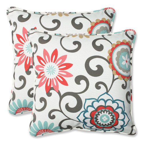 """Set of 2 Brown and White Square Outdoor Corded Throw Pillows 18.5"""" - IMAGE 1"""