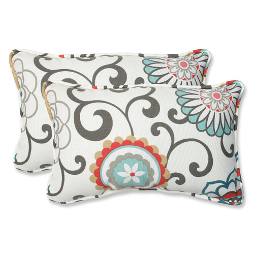 "Set of 2 Brown and White Rectangular Outdoor Corded Throw Pillows 18.5"" - IMAGE 1"