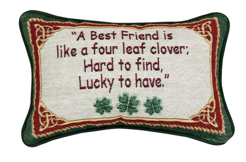 "12.5"" Red and Green ""Best Friend"" Rectangular Throw Pillow - IMAGE 1"