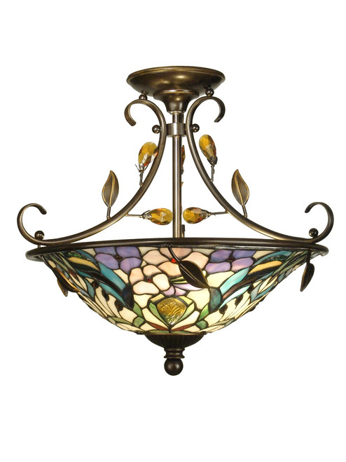 """17"""" Antique Golden Sand Peony Crystal and Hand Crafted Glass Tiffany-Style Semi-Flush Mount Ceiling Light Fixture - IMAGE 1"""