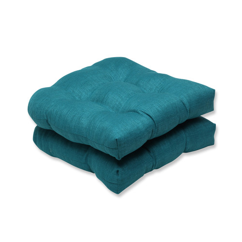 """19"""" Set of 2 Pillow Perfect Tidal Teal Outdoor Patio Wicker Seat Cusion - IMAGE 1"""