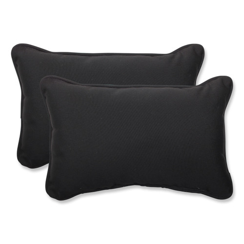 "Set of 2 Sunbrella Umbral Midnight Black Outdoor Corded Rectangular Throw Pillows 18.5"" - IMAGE 1"