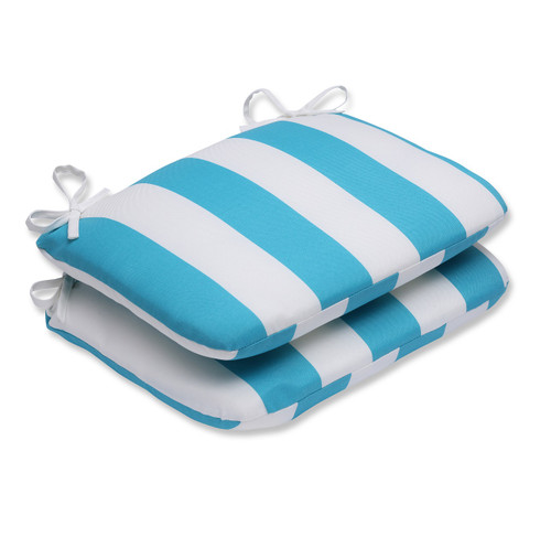 """18.5"""" Blue and White Cabana Striped Chair Cushion - IMAGE 1"""