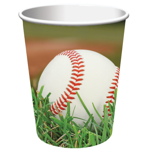 Club Pack of 96 Green and White Baseball Disposable Paper Drinking Party Tumbler Cups 9 oz. - IMAGE 1