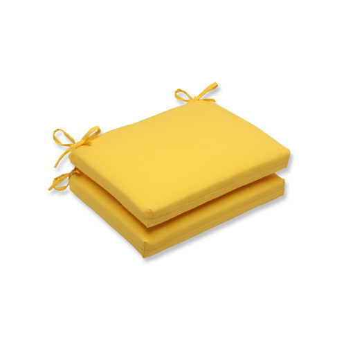 """Set of 2 Chroma Citrus Yellow Outdoor Patio Chair Cushions with Ties 18.5"""" - IMAGE 1"""