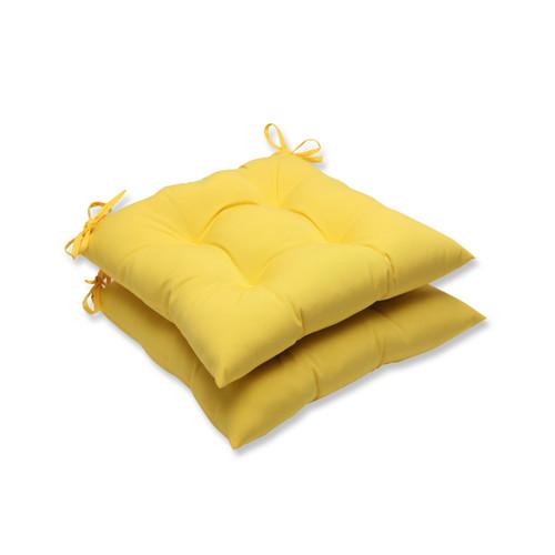 "Set of 2 Chroma Citrus Yellow Outdoor Patio Seat Cushions 19"" - IMAGE 1"