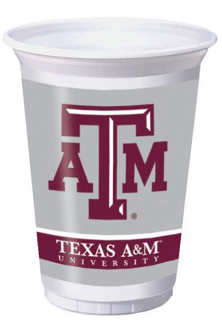 """Club Pack of 96 White and Brown NCAA Texas A&M Aggies Plastic Drinking Tailgate Party Cups 7"""" - IMAGE 1"""
