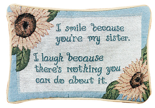 """12.5"""" Blue and White """"Sister"""" Rectangular Throw Pillow - IMAGE 1"""