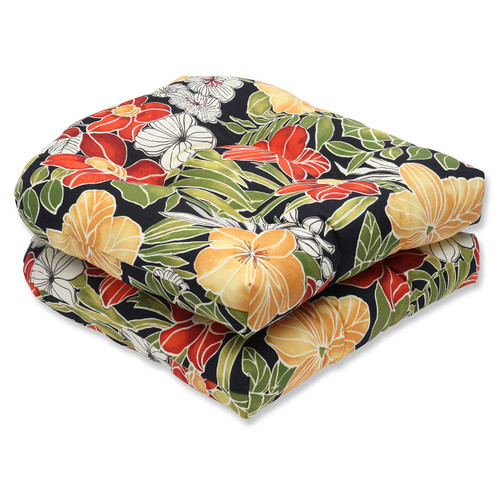 """Set of 2 Clemens Noir Outdoor Patio Wicker Seat Cushion 19"""" - IMAGE 1"""