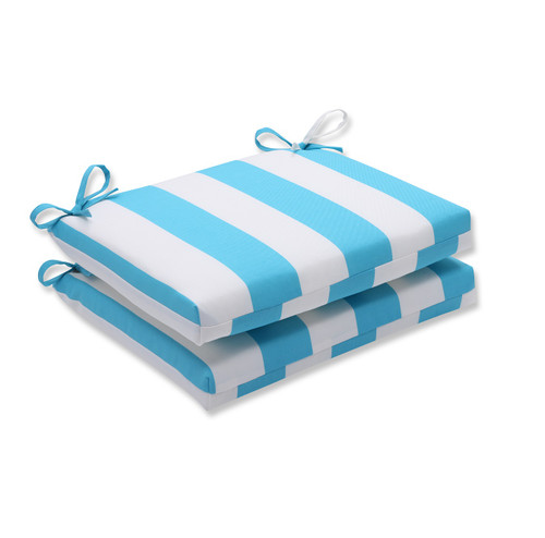 """Set of 2 Blue and White Striped Chair Cushion 18.5"""" - IMAGE 1"""