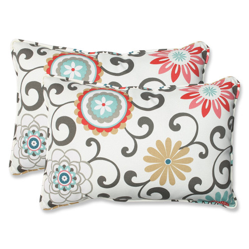 """Set of 2 Brown and White Rectangular Outdoor Corded Throw Pillows 24.5"""" - IMAGE 1"""