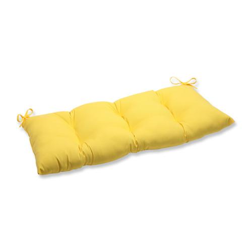 "44"" Chroma Citrus Yellow Outdoor Patio Loveseat Cushion - IMAGE 1"