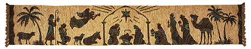 "72"" Coffee Brown Nativity Rectangular Table Runner - IMAGE 1"