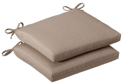 Set of 2 Outdoor Patio Furniture Chair Seat Cushions - Cosmic Beige - IMAGE 1