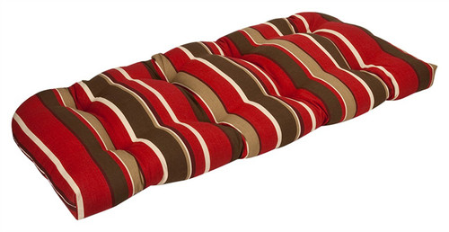 """44"""" Tropical Red and Brown Striped Reversible Outdoor Patio Tufted Wicker Loveseat Cushion - IMAGE 1"""