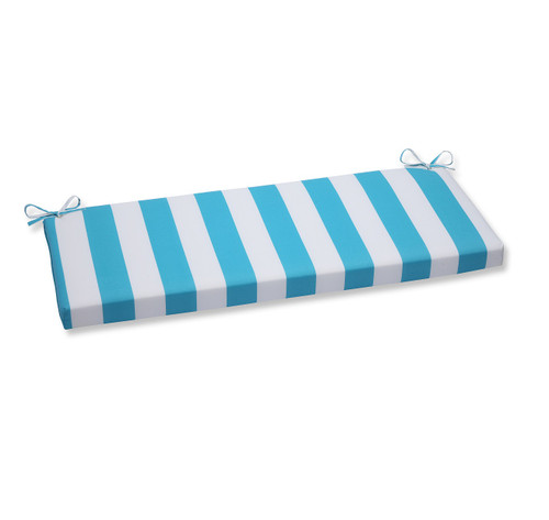 """45"""" Blue and White Striped Outdoor Patio Bench Cushion - IMAGE 1"""