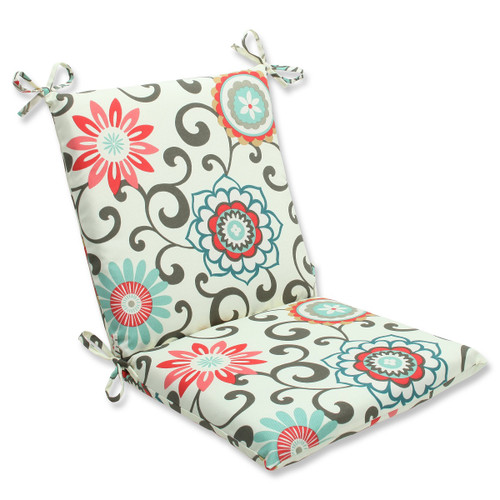 "36.5"" Brown and White Outdoor Patio Squared Chair Cushion - IMAGE 1"