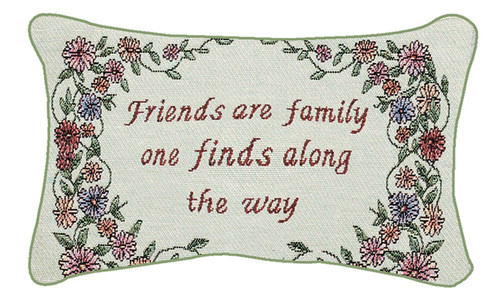 "12.5"" White and Green ""Friends Are Family"" Floral Rectangular Throw Pillow - IMAGE 1"