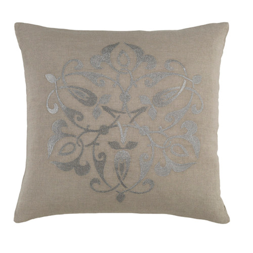 """18"""" Gray and Silver Contemporary Square Throw Pillow - Down Filler - IMAGE 1"""