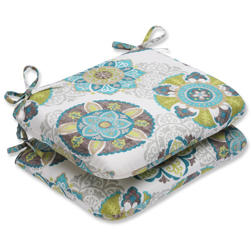 "Set of 2 Blue Floral Outdoor Patio Rounded Seat Cushions 18.5"" - IMAGE 1"