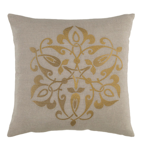 """22"""" Gray and Gold Contemporary Square Throw Pillow - Down Filler - IMAGE 1"""