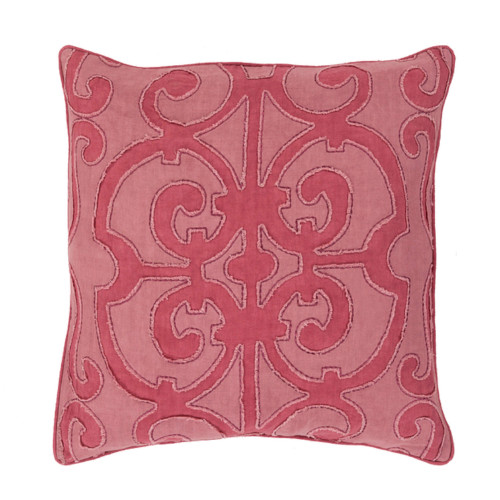 """20"""" x 20"""" Pink Contemporary Square Throw Pillow - Down Filler - IMAGE 1"""